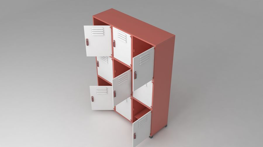 metal storage cabinet furniture royalty-free 3d model - Preview no. 13