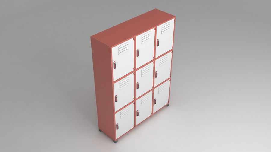 metal storage cabinet furniture royalty-free 3d model - Preview no. 1