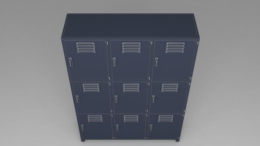 metal storage cabinet furniture royalty-free 3d model - Preview no. 21