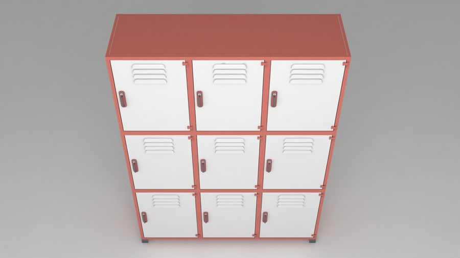 metal storage cabinet furniture royalty-free 3d model - Preview no. 2