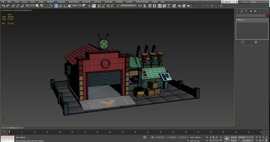 Gestileerde Cartoon textielfabriek royalty-free 3d model - Preview no. 9