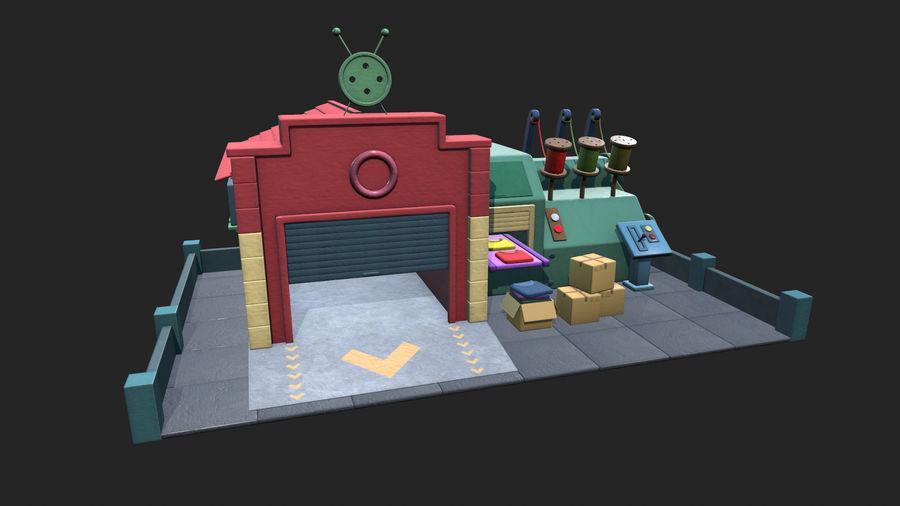 Gestileerde Cartoon textielfabriek royalty-free 3d model - Preview no. 1