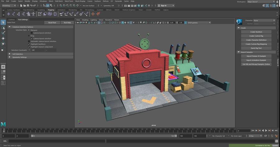 Gestileerde Cartoon textielfabriek royalty-free 3d model - Preview no. 10