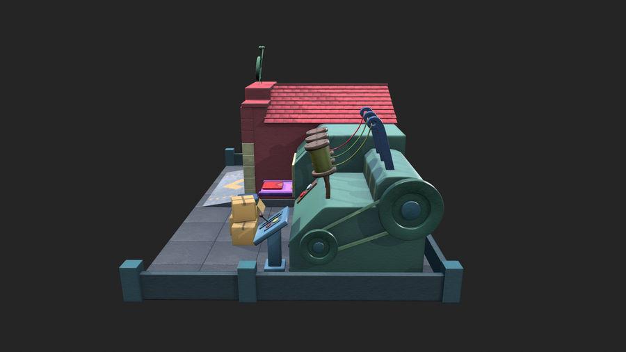 Gestileerde Cartoon textielfabriek royalty-free 3d model - Preview no. 3