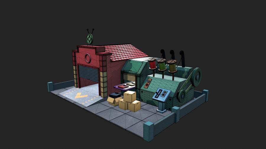 Gestileerde Cartoon textielfabriek royalty-free 3d model - Preview no. 7