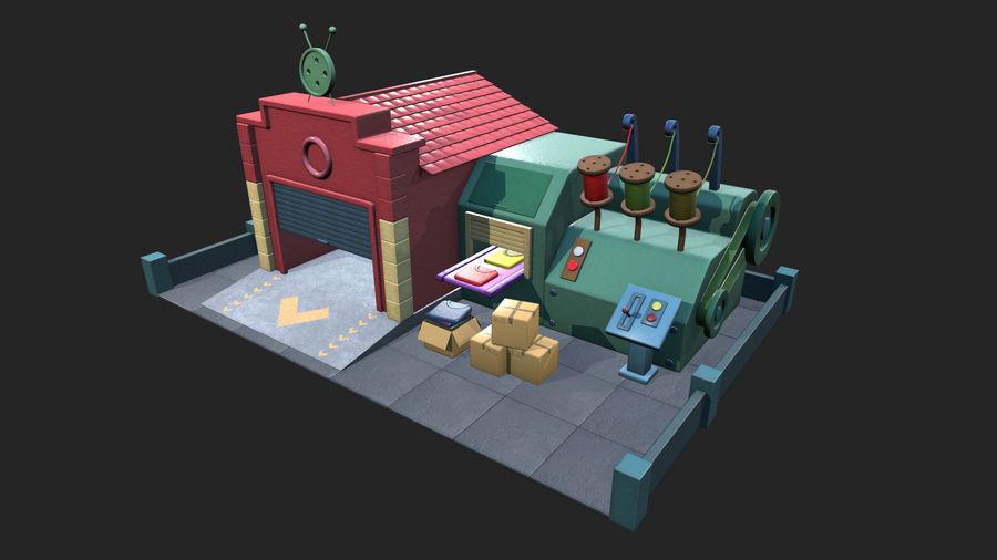 Gestileerde Cartoon textielfabriek royalty-free 3d model - Preview no. 2