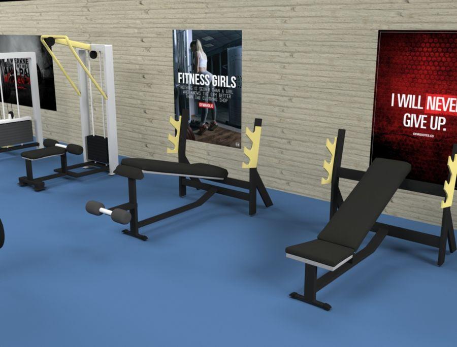 3d Wnętrze siłowni royalty-free 3d model - Preview no. 2