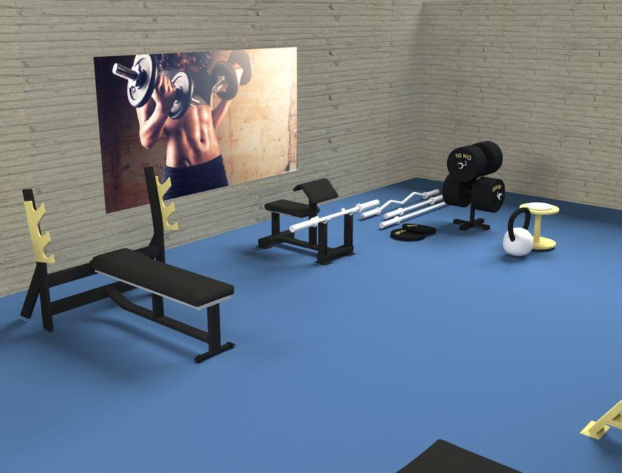 3d Wnętrze siłowni royalty-free 3d model - Preview no. 3