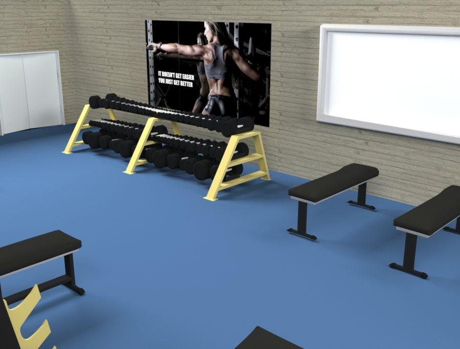 3d Wnętrze siłowni royalty-free 3d model - Preview no. 4