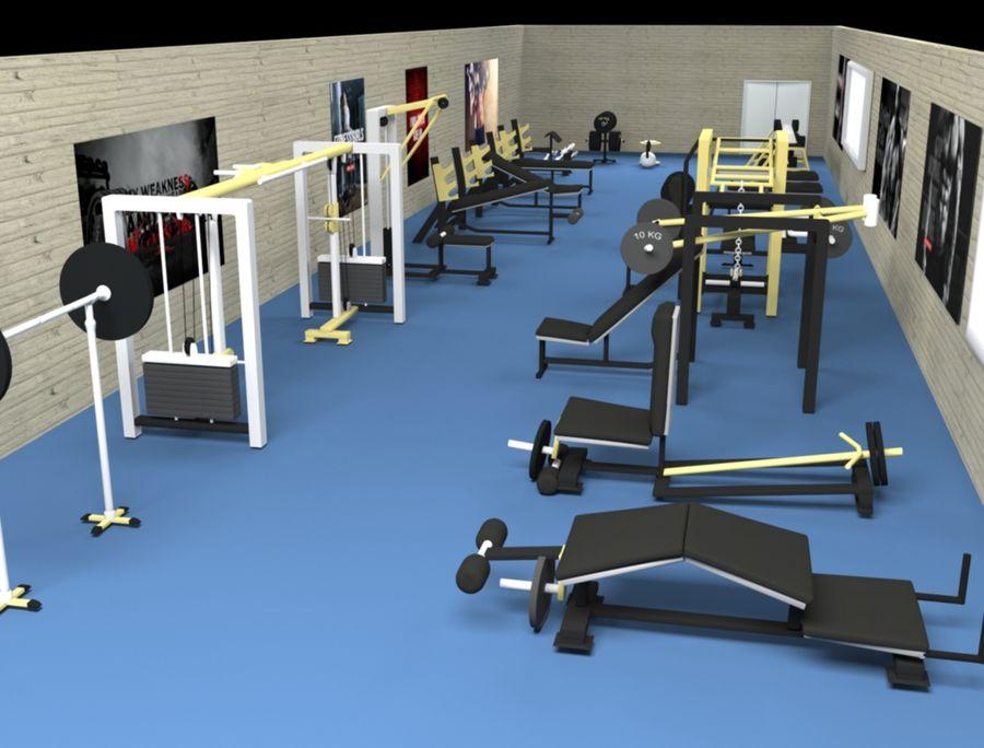 3d Wnętrze siłowni royalty-free 3d model - Preview no. 1