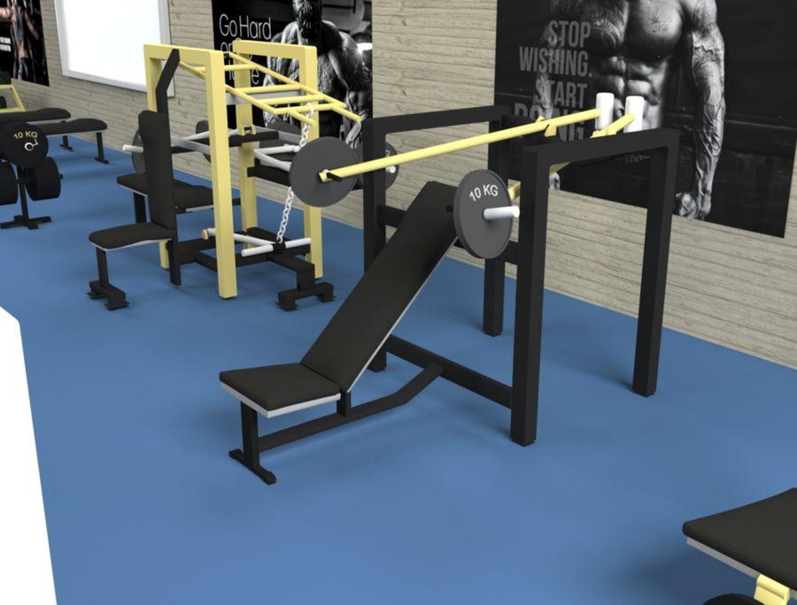 3d Wnętrze siłowni royalty-free 3d model - Preview no. 5