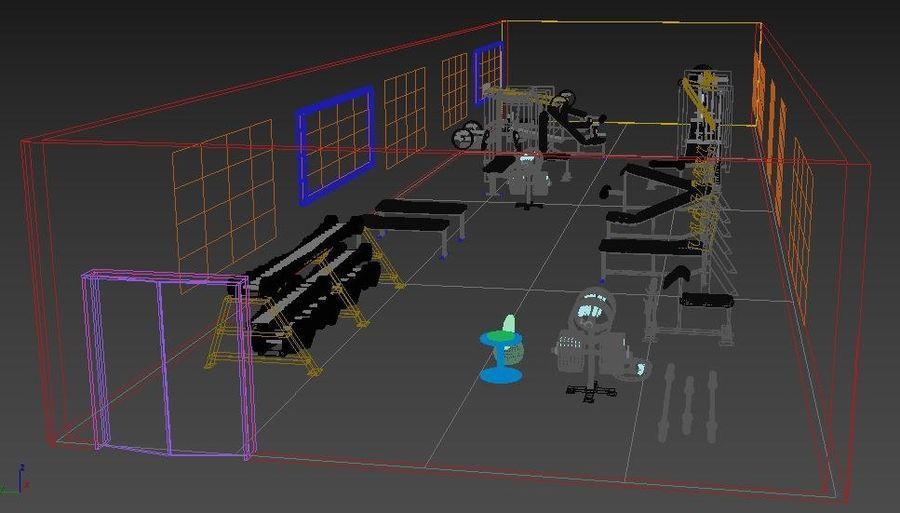 3d Wnętrze siłowni royalty-free 3d model - Preview no. 10
