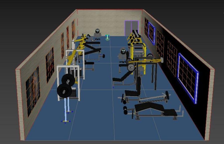 3d Wnętrze siłowni royalty-free 3d model - Preview no. 8