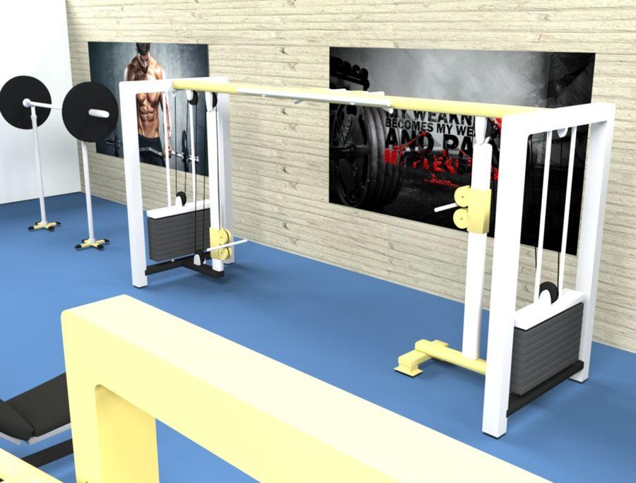 3d Wnętrze siłowni royalty-free 3d model - Preview no. 7