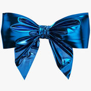 Low Poly Blue Bow 02 3d model