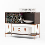 Dean Record Cabinet-Konsole mit Yamaha Turnable 3d model