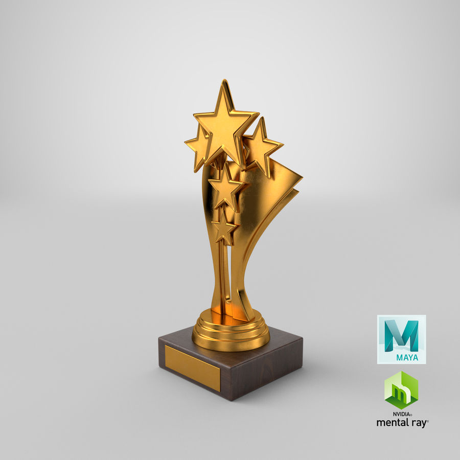 Gold Trophy 5 royalty-free 3d model - Preview no. 14