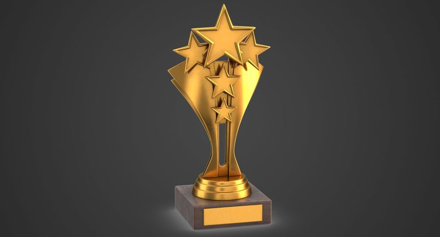 Gold Trophy 5 royalty-free 3d model - Preview no. 2