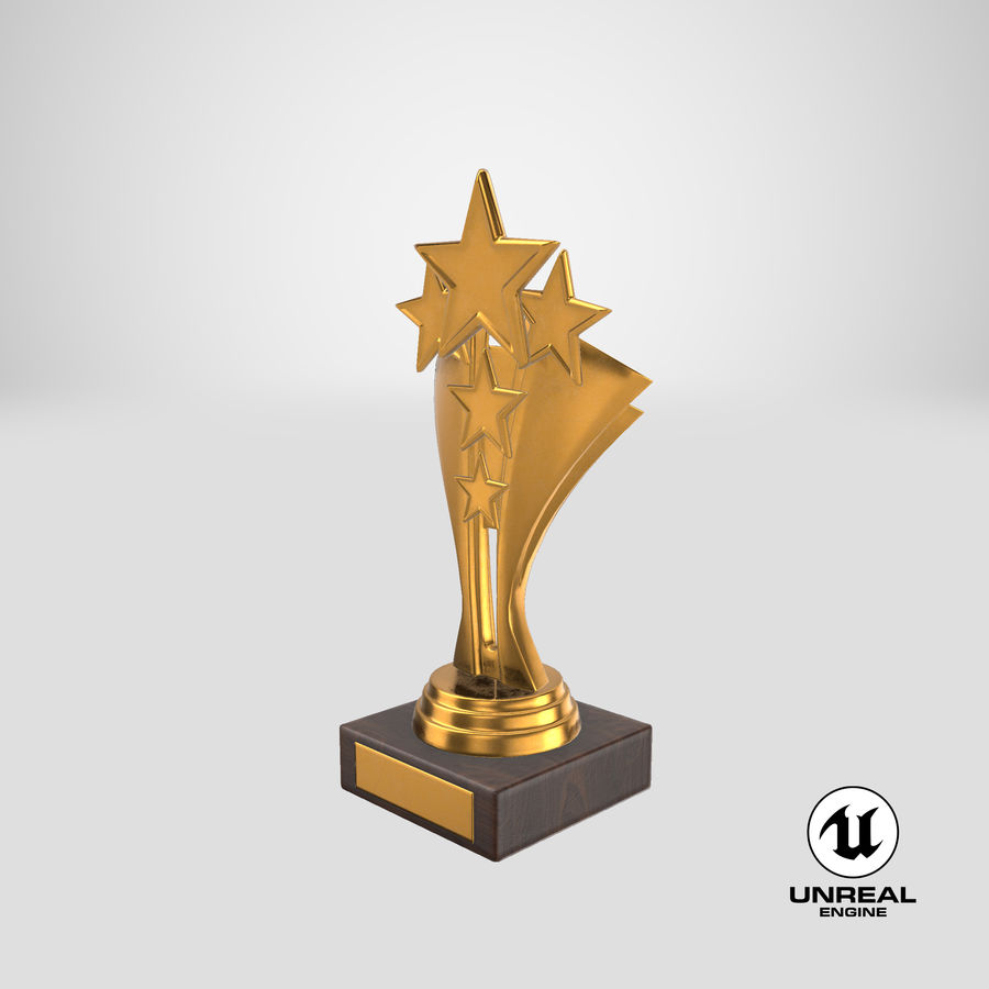 Gold Trophy 5 royalty-free 3d model - Preview no. 17