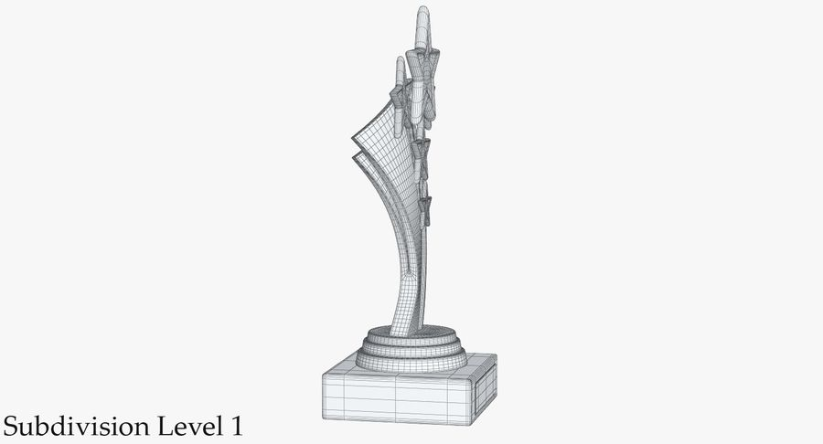 Gold Trophy 5 royalty-free 3d model - Preview no. 12