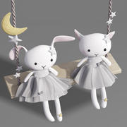 Rabit and Cat Plush Toy Swing 3d model