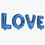 Foil Balloon Blue Words Love 3d model