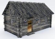 인테리어와 나무 오두막 3d model