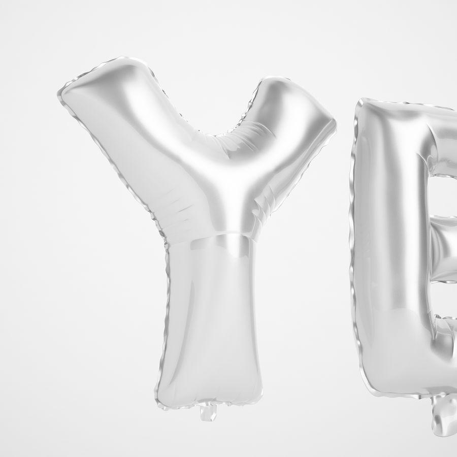 Foil Balloon Silver Words Sí royalty-free modelo 3d - Preview no. 15