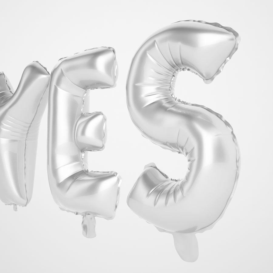 Foil Balloon Silver Words Sí royalty-free modelo 3d - Preview no. 21
