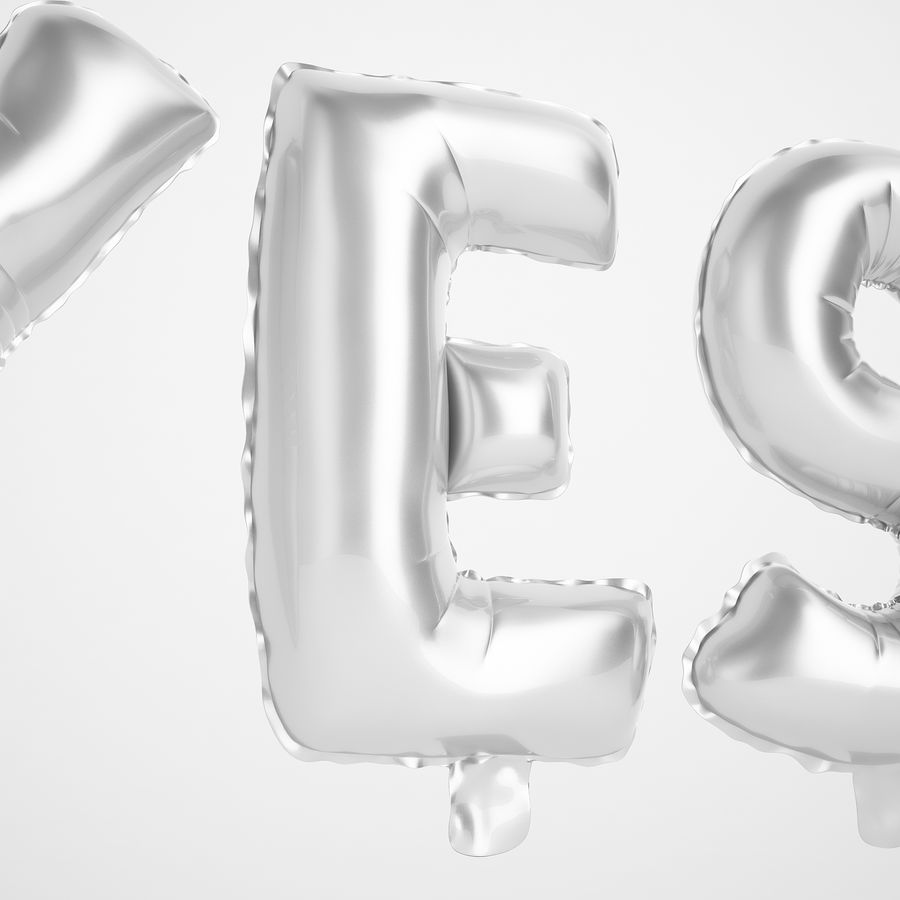 Foil Balloon Silver Words Sí royalty-free modelo 3d - Preview no. 17