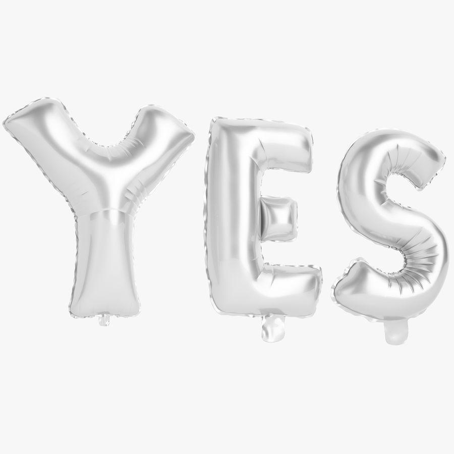 Foil Balloon Silver Words Sí royalty-free modelo 3d - Preview no. 1