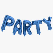 Foil Balloon Blue Words Party 3d model
