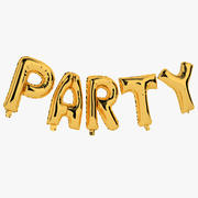 Foil Balloon Gold Words Party 3d model
