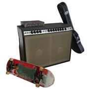 Set: Amplifier, guitar case, skateboard 3d model