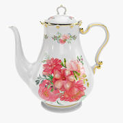 Porcelain Teapot (with hand painted flowers) 3d model