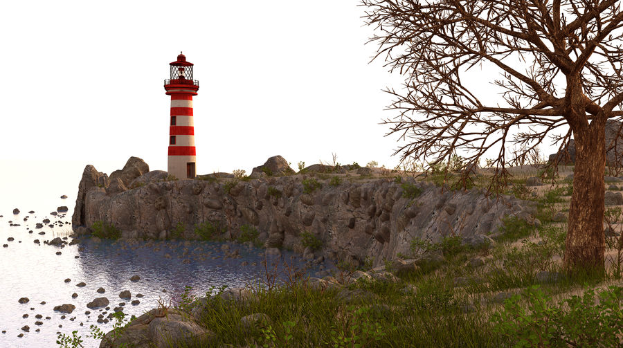LightHouse Hill Environment royalty-free 3d model - Preview no. 2