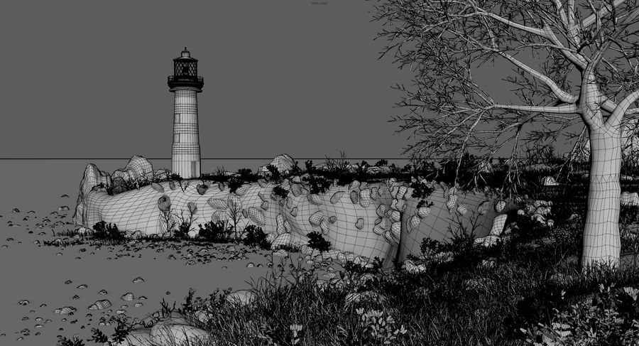 LightHouse Hill Environment royalty-free 3d model - Preview no. 3