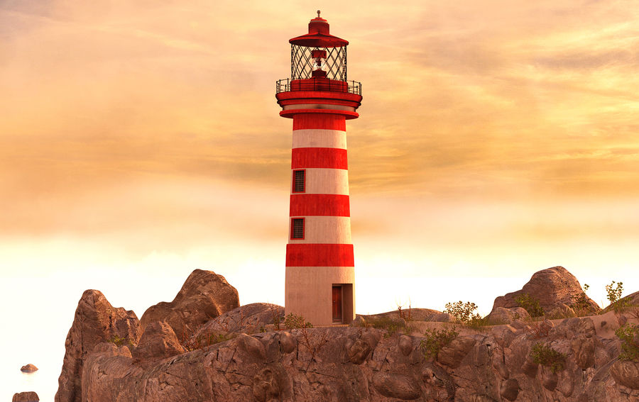 LightHouse Hill Environment royalty-free 3d model - Preview no. 4