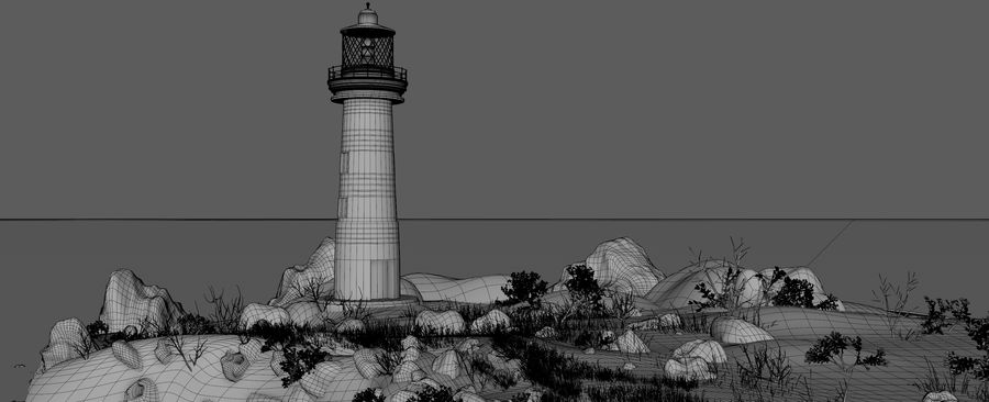 LightHouse Hill Environment royalty-free 3d model - Preview no. 19