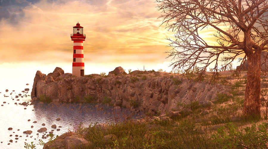 LightHouse Hill Environment royalty-free 3d model - Preview no. 1