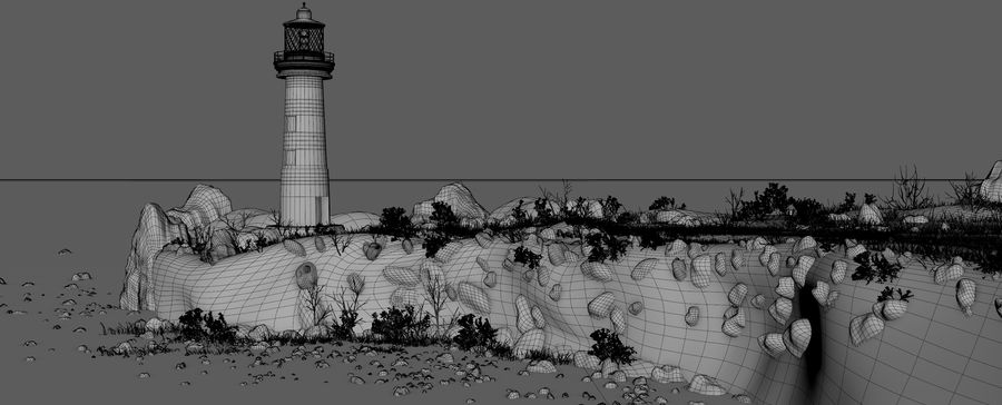 LightHouse Hill Environment royalty-free 3d model - Preview no. 15