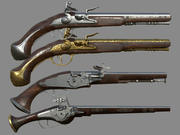 Weapon - Wheelock Flintlock Wheelock Pistol Pack Bundle Kolekcja modeli 3D 3d model
