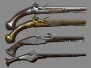 Weapon-Wheelock Flintlock Wheelock手枪包套装3D模型收藏 3d model