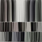 Un ensemble de rideaux de différentes couleurs avec du tulle 3d model
