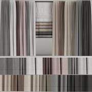 Um conjunto de cortinas em cores diferentes com uma cortina romana 3d model