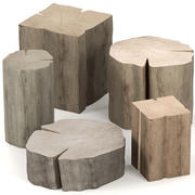 Set of tables from stumps 3d model