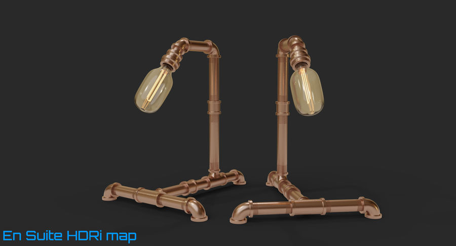 Steampunk Tischlampe royalty-free 3d model - Preview no. 9