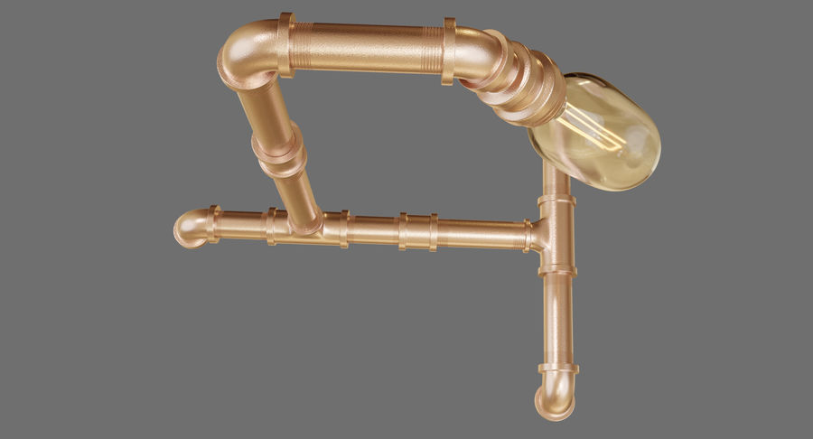 Steampunk Tischlampe royalty-free 3d model - Preview no. 5