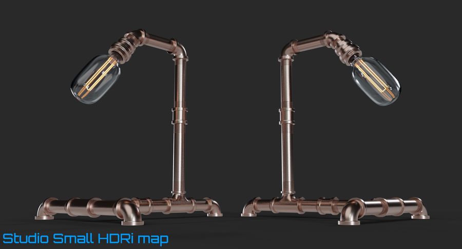 Steampunk Tischlampe royalty-free 3d model - Preview no. 11