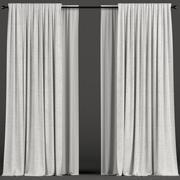 Witte gordijnen met tule 3d model